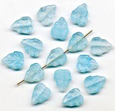 Vintage Blue Leaf Beads 15mm Aqua Striated Glass by beadbrats
