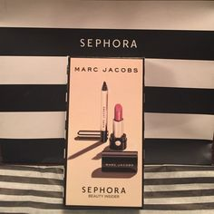 MARC JACOBS mini lipstick & highliner Le Marc Lip Creme lipstick in KISS KISS BANG BANG (baked rose) rich, velvety and ultra-hydrating  & Highliner Gel Eye Crayon Eyliner in Black (waterproof ) both are mini sizesealed,brand new, never used bundle to get    More discount Sephora Makeup