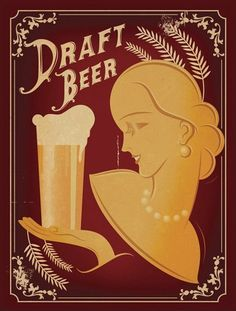 Draft Beer Lady With Pearl Necklace