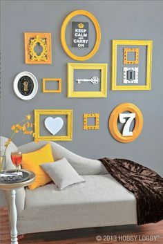 Redress your favorite space with a scattering of these delightful designer frames. Simply mix and match shapes and sizes (even paint them!) to transform your space from plain Jane to perfectly framed! It's decorating in an instant! - yellow on grau Bedroom Decor, Wall Decor, Frames On Wall, Painted Frames, Empty Frames, My Room, House Colors, Home Projects, Diy Home Decor