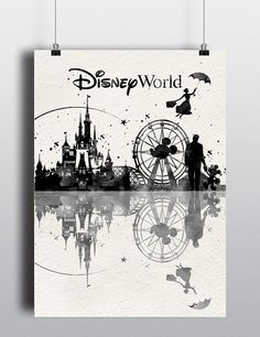 Disney World Print Watercolor Disney print Disney by LACOTEDESIGN --Except the ferris wheel is at California Adventure, not Disney World...