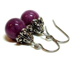 Dyed Quartzite Amethyst Dangle Earrings with Surgical Steel Ear Wires | DesertCreations - Jewelry on ArtFire