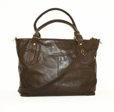 Dark Brown Leather Tote Bag Handbag // Leather by chicleather