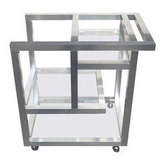 Mid-Century-Modern-Bar-Cart-Aluminum-Rolling-Bar-Service-Bar-Milo-Baughman-Eames