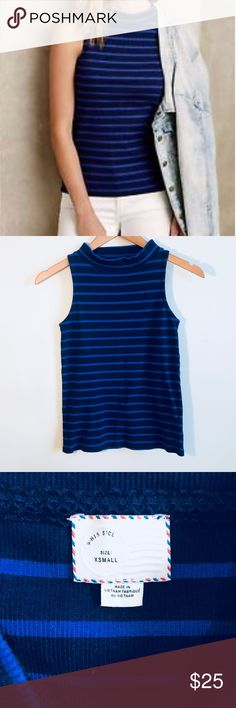 "[Anthropologie] Striped turtleneck tank Postmark by Anthropologie  Striped turtleneck tank  Pit to pit 13.5"" Length 21"" Cotton spandex Anthropologie Tops Tank Tops"