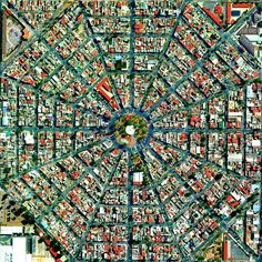 Radiating streets surround the Plaza Del Ejecutivo in the Venustiano Carranza district of Mexico City, Mexico. This district — which is home to more than people — contains three of Mexico City's large traditional markets, including La Merced,. City Ville, City From Above, City Layout, Aerial Images, México City, City Grid, Birds Eye View, Aerial Photography, Art Photography