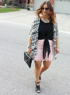 Tribal Printed Cardigan, Pink Lace Skirt, Black Tank / Something About That
