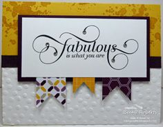 "Million Cardstock:  Hello Honey, Blackberry Bliss, Whisper White Stamp Set:  Million & One, Gorgeous Grunge Accessories:  3/8"" Stitched Satin Ribbon, Decorative Dots Embossing Folder, Big Shot, Rhinestone Jewel"