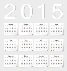 2015 white sticker calendar - vector graphics