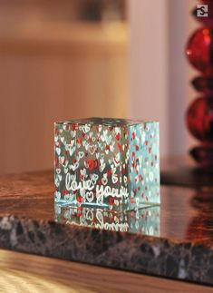 "Engagement Gifts For Couples. ""Love You"" layered glass paperweight, Spaceform London. #engaged #couplegoals #love"