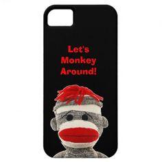 Cute  FUNNY Sock Monkey  I Phone 5 COVER iPhone 5 Case