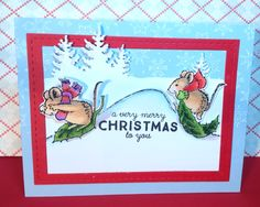 This Winter Wonderland set by Penny Black is so fun! Lots of critters to choose from to make cute winter scenes. Great for coloring with Copics. IO Spruce tree die used for background. Sentiment by Wplus9. Snowflake background stamp by Magenta
