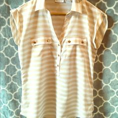 Tan & White Striped Blouse This blouse is tan and white striped with great gold button accents. New York & Company Tops Blouses