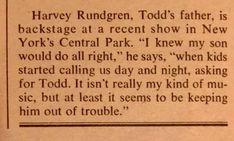 Todd Rundgren, Central Park, Rock, Sayings, Music, Celebs, Musica, Musik, Lyrics