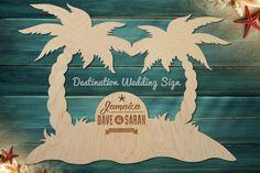 Destination Wedding Guest book Sign Palm by WoodenWeddingPuzzles