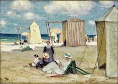 The Beach At Dinard Artwork By Clarence Gagnon Oil Painting & Art Prints On Canvas For Sale Stretched Canvas Prints, Canvas Art Prints, Oil On Canvas, Canadian Painters, Canadian Artists, Clarence Gagnon, Montreal Museums, Painting Edges, Illustrations