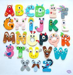 Monster alphabet for kids Felt Letters, Diy Letters, Felt Crafts, Diy And Crafts, Arts And Crafts, Monster Theme Classroom, Diy For Kids, Crafts For Kids, Felt Monster