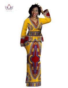 African Skirt Set 2 Piece Dashiki Dress Wax Print Bazin Rich African V-Neck Long Sleeve Maxi Dress Dashiki PLUS SIZE 6XL