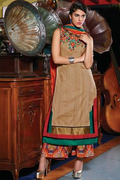 #Brown multicoloured raw silk sleeveless marvellous kameez with boat #neck -SL4205