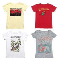Children's tees featuring original book covers from classic kid lit. By Out of Print Clothing.