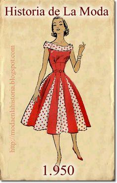 La Moda en los años Fashion in the 1940s Fashion Women, 50 Fashion, Fashion History, Vintage Fashion, 50s Dresses, Vintage Dresses, Vintage Outfits, 50s Inspired Fashion, Patron Vintage