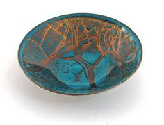 enamel copper | Enamel on Copper shallow bowl by Edward Winter ; abstract design in ...
