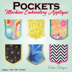 Applique Pockets Machine Embroidery Applique  6 Different styles  Available at  http://www.etsy.com/shop/EdiesDesigns