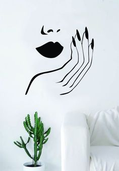 beauty Room logo - Lips and Nails Wall Decal Sticker Vinyl Room Decor Art Girls Stylist Logo Female Hair Spa Shop Beauty Salon Make Up Home Nail Salon, Nail Salon Design, Hair Salon Interior, Salon Interior Design, Salon Art, Luxury Interior, Interior Paint, Living Room Quotes, Vinyl Room