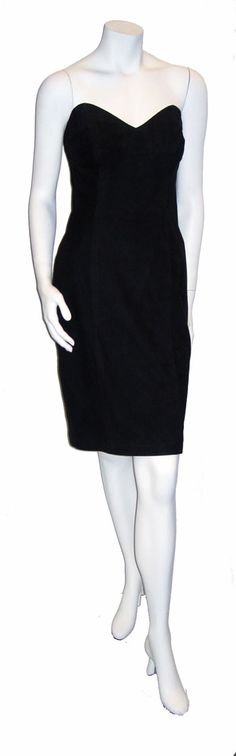 $179.00  This classic 1980's strapless dress and matching jacket are genuine suede designed by Nancy Lord.