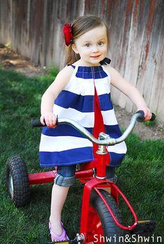 "peek-a-boo striped ""pillowcase dress """
