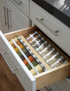 Ina Garten Kitchen. She's right, the reason spices are a nightmare is all the different sizes and shapes of the containers they come in. This makes it simple.