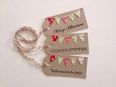 Christmas Bunting Tags stamped and sewn set 3 von littleolly Christmas Bunting, Christmas Gift Wrapping, Homemade Christmas, Christmas Holidays, Christmas Gifts, Christmas Decorations, Christmas Fabric, Christmas Ideas, Merry Christmas