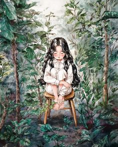 《The Diary of The Forest Girl - by Aeppol》 Girl Cartoon, Cartoon Art, Mode Poster, Forest Girl, Girl And Dog, Illustration Girl, Anime Art Girl, Aesthetic Art, Storyboard