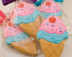 Ice Cream Cookies 12 decorated favors bagged & bowed by TSCookies