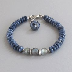 djs Sundance Sol Lapis Lazuli Labradorite Sterling Fine Silver Bead Bracelet #DJStrang #BeadedGemstone