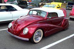custom VW Bug convertible w/beautiful candy apple red paint job - striking!