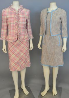 Lot 87: Five piece lot with two Moschino womens tweed suits including a pink multi-colored tweed suit jacket with two skirts and a tan tweed #Nadeausauction #Socialite #Luxury #Couture #Vintage #Fashion #Auction