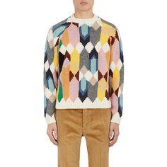 Prada Men's Mixed-Stitch Virgin Wool Cardigan ($2,270) ❤ liked on Polyvore featuring men's fashion, men's clothing, men's sweaters, mens green sweater, prada mens sweater, mens cardigan sweaters and mens sweaters