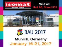 ISOMAT will participate in BAU 2017, the World's Leading Trade Fair for Architecture, Materials and Systems that is going to take place at the Messe München exhibition center, in Munich, Germany, from the 16th until the 21st of January, 2017. http://www.isomat.eu/isomat-bau-international-fair-2017/
