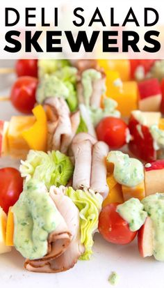 Yummy Deli Salad Skewers with apples, sliced turkey, tomatoes, lettuce, bell pepper, and cheese. Served with tasty 2-ingredient basil mayonnaise, these yummy salad skewers make a perfect party appetizer or snack for any occasion. #sponsored #Safeway @Safeway