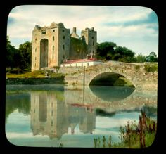 Bunratty Castle, from across the Ratty River :: Branson DeCou Digital Archive Castles In Ireland, County Clare, Digital Archives, Old Pictures, 1930s, The Past, Scenery, River, Country