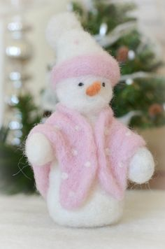 Needle Felted, Handmade Snow Lady with Blanket and Hat on Etsy, $30.00