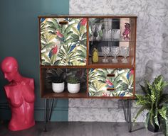 Upcycled Vintage Retro Mid Century Teak Drinks Cabinet, Tropical Decoupage, Home Bar, Cocktail Cabinet Upcycled Furniture, Painted Furniture, Diy Furniture, Adirondack Furniture, Retro Furniture, Refurbished Furniture, Home Bar Decor, Retro Home Decor, Glass Cabinet Doors