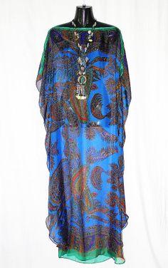 Self Bordered Blue Paisley 100 Silk Full Length by MollyKaftans, $169.00