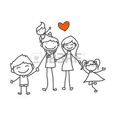 disegno a mano cartone animato famiglia felice di giocare Archivio Fotografico