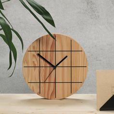 grid wooden wall clock by byshop   notonthehighstreet.com