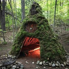 A nice moss shelter with a built-in fireplace.