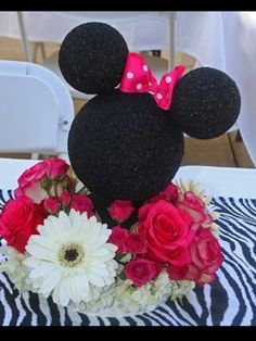 Minnie Mouse centerpiece...minus the bow and put red flowers maybe add some white flowers and you got a Mickey Mouse centerpiece.
