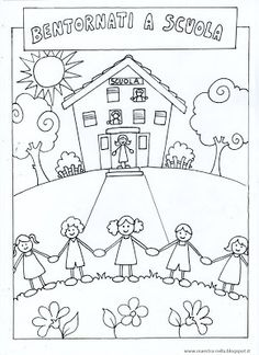 maestra Nella: schede 'Benvenuti' e 'Bentornati' Free Kids Coloring Pages, Penguin Coloring Pages, Colouring Pages, Coloring For Kids, Kindergarten Crafts, Preschool Activities, Drawing For Kids, Art For Kids, Library Drawing