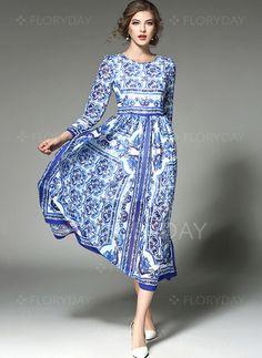 Dress - $49.99 - Floral Drop waist Long Sleeve Maxi Sheath Dress (1955260118)